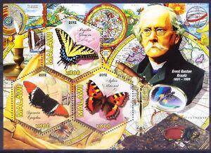 Malawi 2012 MNH SS, Odd Hexagon, Butterflies Ernst Gustav Kraatz Entomologist