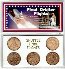 NASA Orbiters Final Flights 5 Minted Antique Bronze Coins Commemorative Series