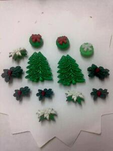 CHRISTMAS TREE   HOLLY IVY , Poinsettia, Wreaths Cake Decs  Buttons Crafts  BG
