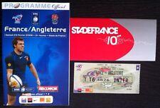 2008 FRANCE/ANGLETERRE 6 nations Rugby Programme Et Billet