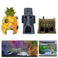 3 pcs Sponge Bob Pineapple House Hole Fish Tank Decoration Aquarium Ornament P
