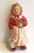 Mary Had Little Lamb Ornament Glittered Christmas Plastic Nursery Rhyme Figure