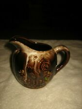 �Vintage Brown Porcelain Creamer Pitcher With Handle With A Rooster� Design �