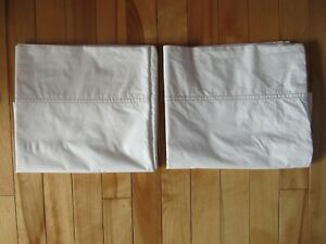 2 ALTERRA PURE 100% ORGANIC COTTON QUEEN SIZE PILLOW CASES WHITE RED STITCHING
