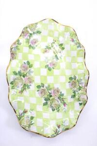 Mackenzie Childs Sweet Pea Honeymoon Check Ruffle Edge Platter Tray Green Pink