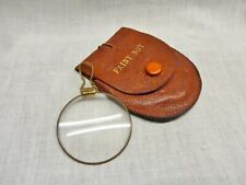 beautiful 1900s necklace magnifying glass  in leather faint not case ideal chain