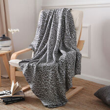 Leopard Printed Cotton Knitted Blanket Soft Sofa Bed Office Throw Blankets Warm