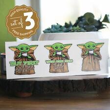 Baby Yoda Diecut Sticker Set - The Child - The Mandalorian - Decals - Coffee