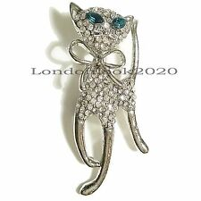 New Arrival Women Fashion Lovely Cat Animal Crystal Brooch Pin Great for a Gift