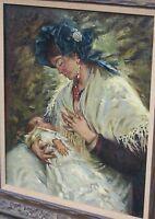 Antique Hugo Vogel Mother & Baby Oil Painting