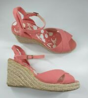 New Look size 6 (39) salmon pink canvas strappy buckle wedge heel sandals
