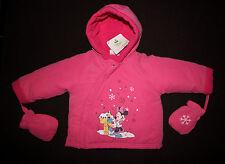 DISNEY BABY manteau blouson bébé MINNIE rose avec gants , taille 9 mois,  neuf