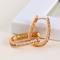 18k 18ct Yellow Gold Filled GF  CZ Huggies Hoop Woman Earrings E-A523