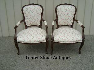 60443 Pair Louis XV Bergere Armchair Chairs