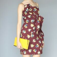 Karen Walker Asymmetrical Maroon Floral Mini Dress, Size 8