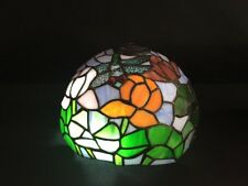 Vintage Tiffany Style Slag Stained Glass Lamp Shade Dragonfly Floral Beautiful!