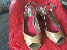 Diana Ferrari Bronze and tan open toe leather SLINGBACK hardly used size 7
