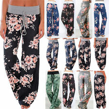 LADIES FLORAL YOGA PALAZZO TROUSERS WOMENS SUMMER WIDE LEG PANTS PLUS SIZE 6-20