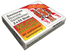 2x55 Blatt Senioren Rommé, Canasta, Bridge Spielkarten | Kartenspiel Karten