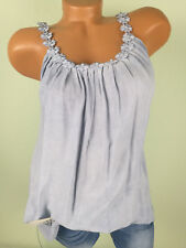 ♥ Italy TOP Tunika Shirt Damen Häkelspitze blau PERLEN 38 40 42 44 S M L F62