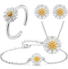 925 Silver Daisy Flower Necklace Earrings Bracelet Ring Set UK Womens Gift