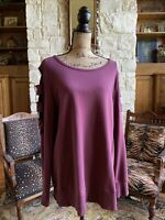 Anthropologie Halcyon Rum Raisin Burgundy Open Sleeve Sweatshirt XL Sweater