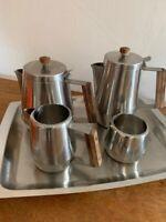 Vintage Mid Century Stainless Steel And Wood Tray Tea Set - Fabulous!!!