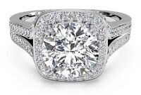 Real 14k Solid White gold 2.25ct Round Brilliant Halo Diamond Engagement Ring