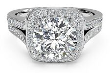 Real 14KT Solid White gold 2.25ct Round Brilliant Halo Diamond Engagement Ring