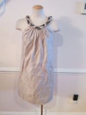 boston proper metallic dress with necklace looking front xs             #135