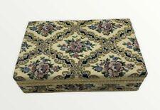 Vintage Wood Brocade Covered Jewelry Box Trinket Box Floral 9 x 5.5 x 2.5