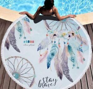 3D Feather Pattern ZHU271 Summer Plush Fleece Blanket Picnic Beach Towel Dry Zoe