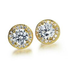Lovely Gold Plated CLEAR WHITE CZ Crystal NICKEL FREE Stud Earrings Jewelry Gift