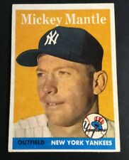 1958 TOPPS # 150, MICKEY MANTLE NMINT FRONT +, BACK HAS N.Y. WRITTEN ON BACK.