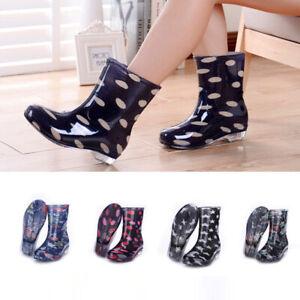Women PVC Mid-Calf Rain Boots Waterproof Polka Dot Flower Non Slip Rain Shoes A
