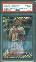 2018 Topps Chrome Update Xfractor Ronald Acuna RC Rookie Auto /125 PSA 9