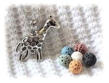 Small Giraffe Aromatherapy Essential Oil Necklace Diffuser with 6 lava stones!