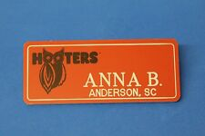 ORANGE HOOTERS GIRL NAME TAG PIN (name in white) ANNA B. Anderson, SC