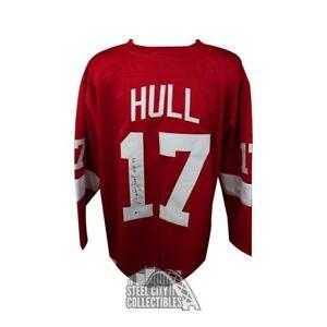 Brett Hull Autographed Red Wings Custom Red Hockey Jersey HOF 09 - BAS COA