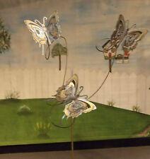 Metal Yard Art Garden Stake Sculpture W/ 3 Butterflies