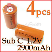 4 rechargeable Sub C SubC With Tab 2900mAh Ni-MH Battery Orange cell pack
