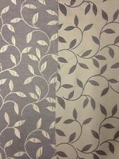 ST MIRAGE SILVER GREY REVERSIBLE LEAVES FLORAL CURTAIN BLINDS CUSHION FABRIC