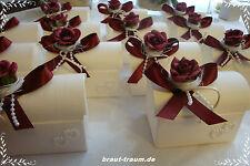 1 Stück Gastgeschenk, bordeaux, Truhe, Hochzeit, Kommunion, Taufe
