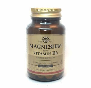 Solgar Magnesium with Vitamin B6 Tablets  2 x 100 Tablet Bottles twin pack