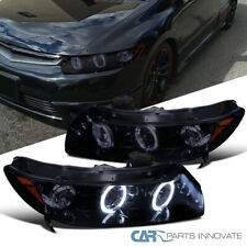 Glossy Piano Black Fit Honda 06-11 Civic 2Dr Tinted LED DRL Projector Headlights