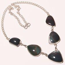 "Genuine Bloodstone Green Jade Silver Plated Handmade Necklace 17""-18""(N-1511)"