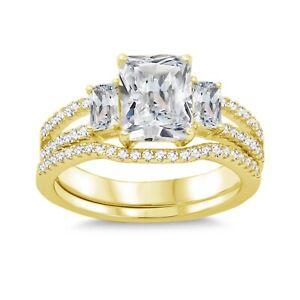 Emerald Baguette Cut Simulated Diamond Engagement Wedding Yellow Gold Ring Set