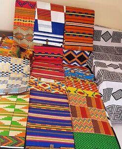 African Kente Fabric 100% Cotton Print Patching Craft Making Fat Quarter Bundle