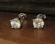 Round Crystal Stud Pierced Earrings White Gold Plated