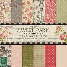 48 foglio intero Pack 8 x 8 Sweet Paris Card Making Scrapbooking Craft Carta